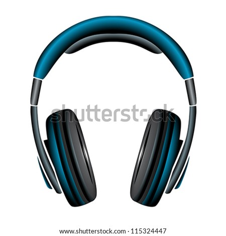 blue simple headphones in