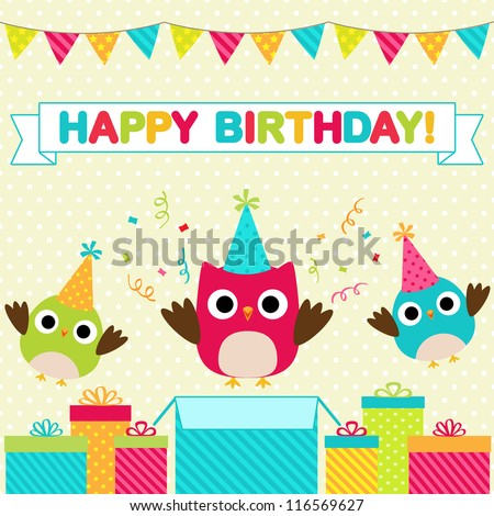 vector birthday party card with
