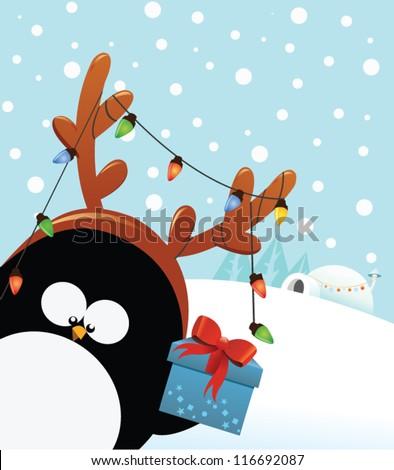 reindeer costumed penguin with