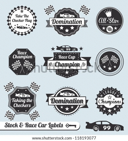 vector set  car racing labels