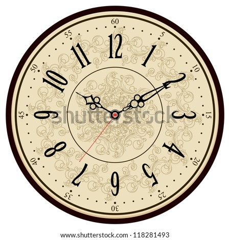 Vintage Illustrations Vector Vector Old Vintage Clock Face