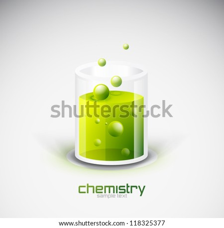 vector glass vessel with green