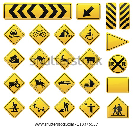 vector road sign set