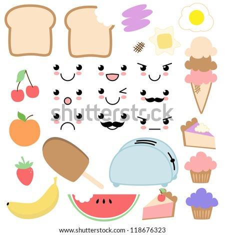 vector kawaii food set