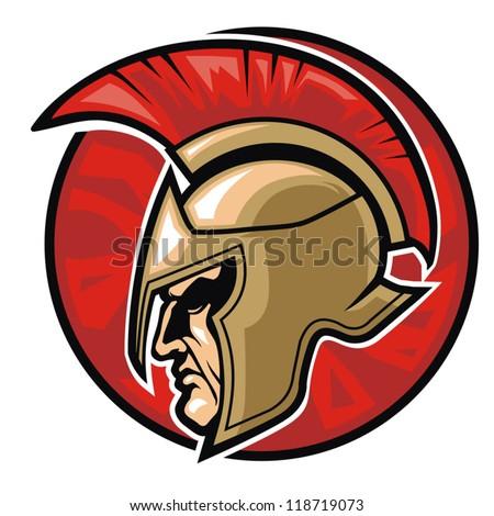head of spartan warrior in a