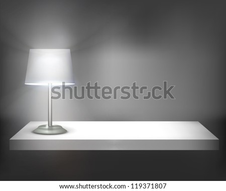 lamp on shelf vector