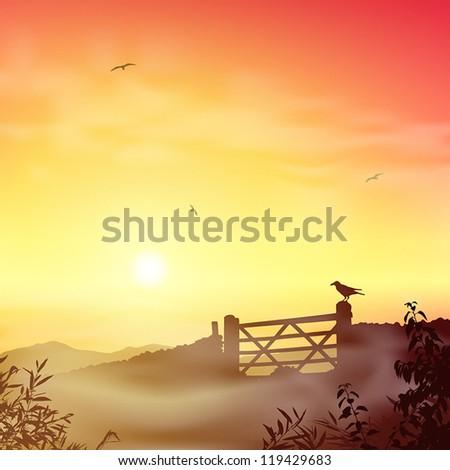 a misty landscape with farm