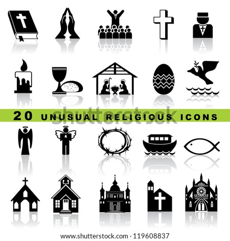 set vector icons of christian