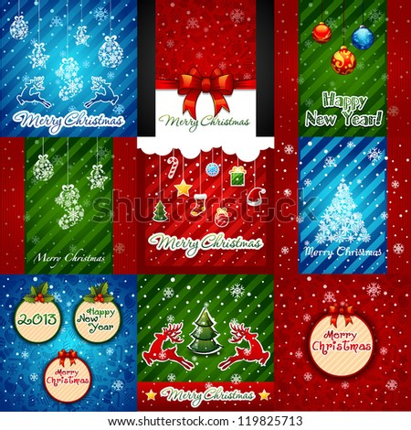 set of christmas greeting cards