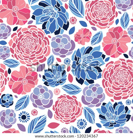 mosaic flowers seamless pattern