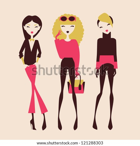 fashion girls posing isolated
