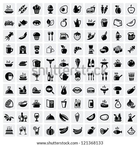 vector black food icons set on
