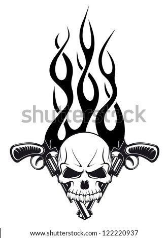 human skull with gun and flames