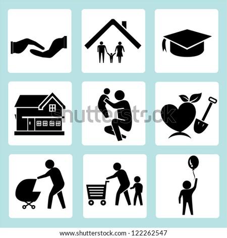family icon set  vector