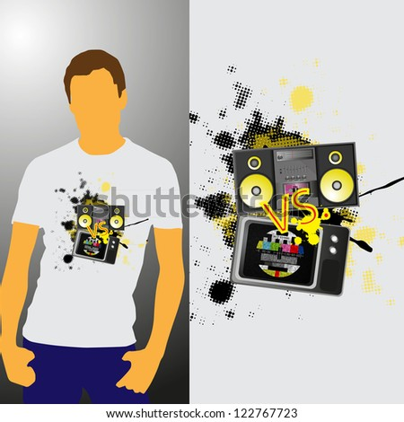 t shirt design  television vs