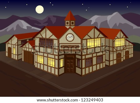european town square at night