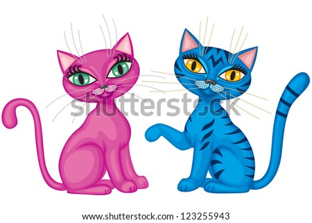 cute magenta kitty and tabby