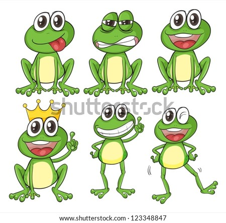illustration of green frogs on