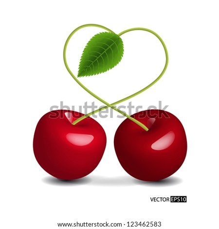 vector heart symbol cherry