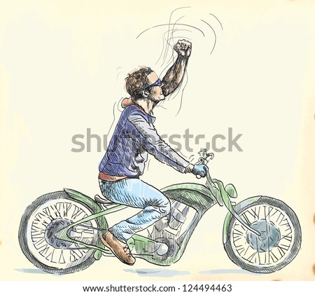 young dude on a motorcycle