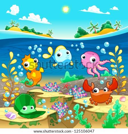 happy marine family under the