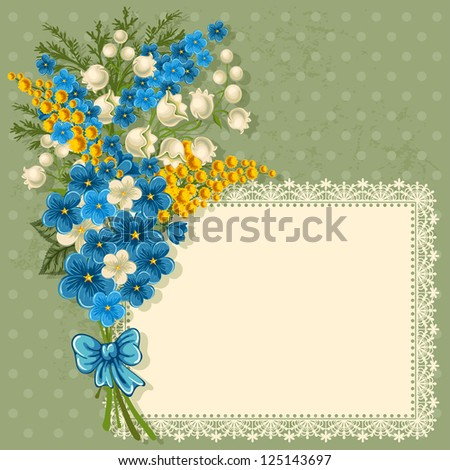 cute greeting card with bouquet