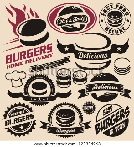 burger icons  labels  signs