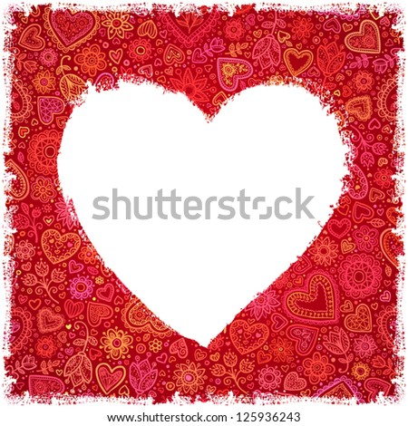 white painted heart on red