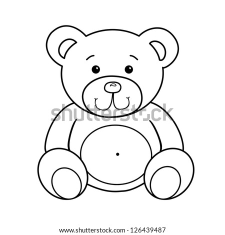 outlined bear toy vector