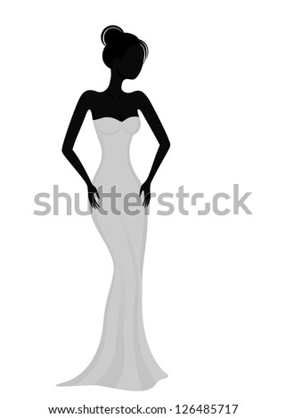 silhouette of a girl in white