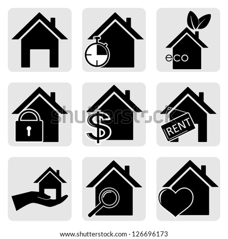 houses vector web icons set