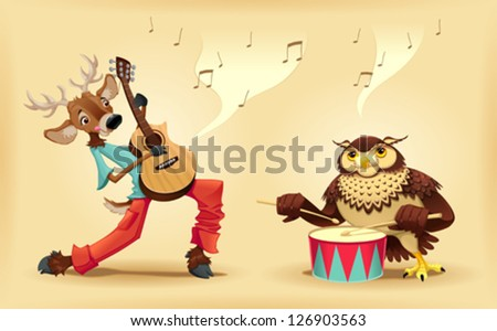 musicians animals cartoon and