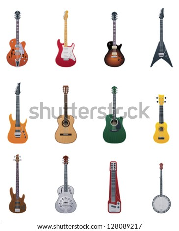 vector guitars icon set