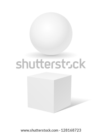 sphere and a cube isolated on