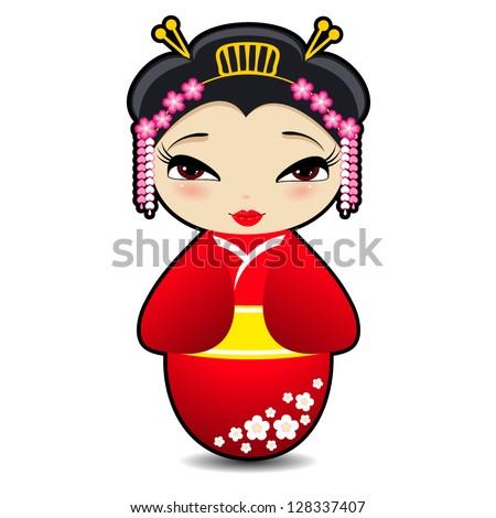 kokeshi doll  vector cartoon