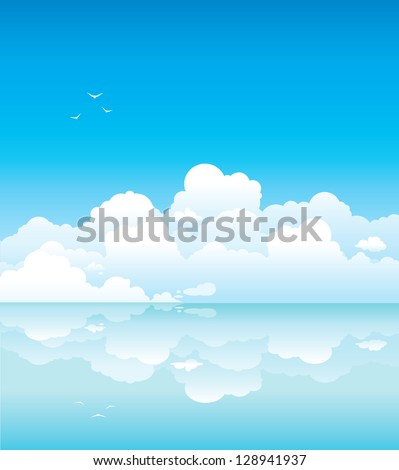 seascape   white clouds with
