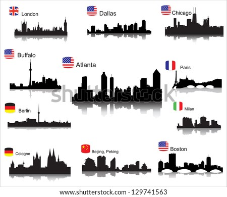 detailed vector silhouettes of