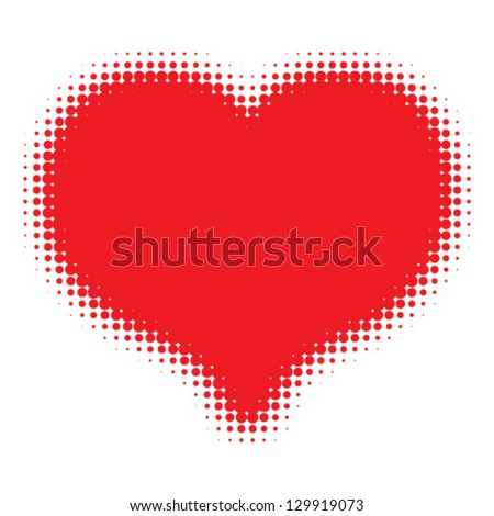 red heart halftone logo  vector