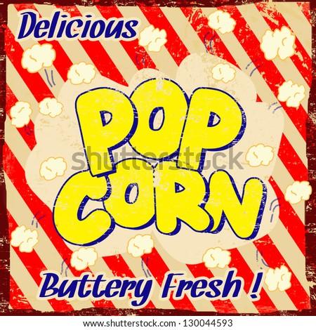 pop corn  vintage grunge poster