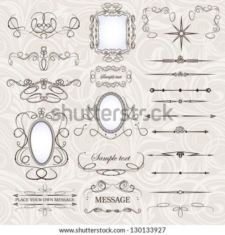 vector set  calligraphic design