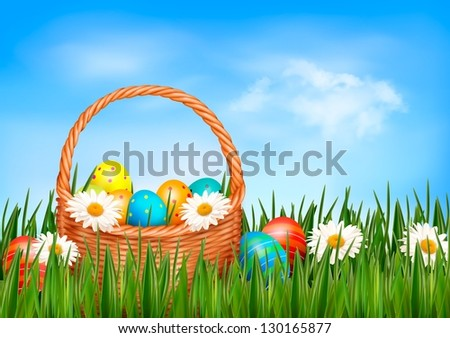 easter eggs with basket in the