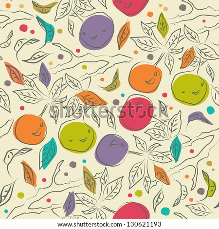 cute floral pattern with orange
