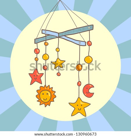 baby crib hanging mobile toy on
