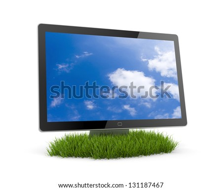 computer monitor in grass