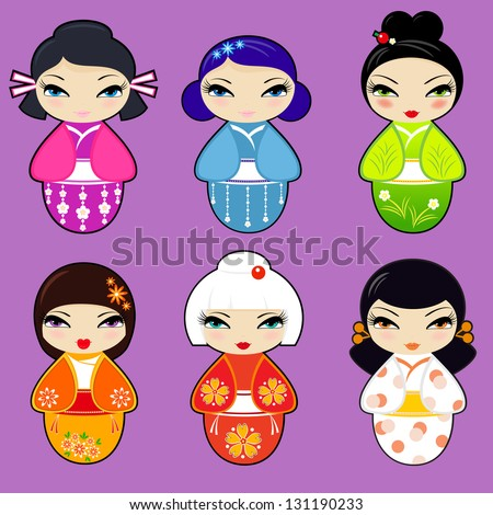 vector set n 1 of cute kokeshi