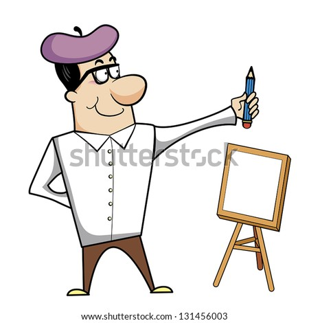 cartoon artist with pencil and