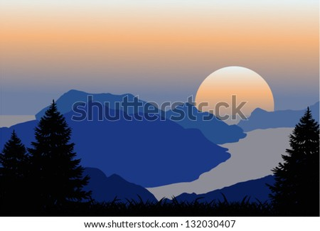 vector morning with norway fjord