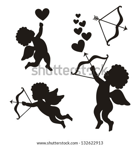 cupid set over white background