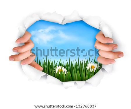 nature background with hands