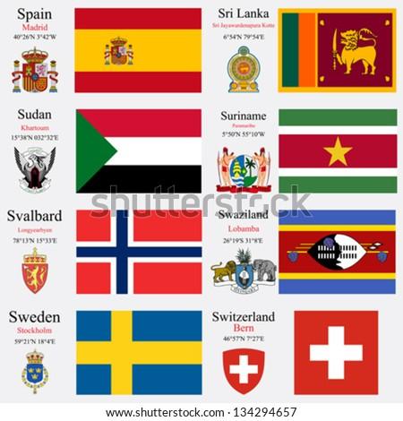 world flags of spain  sri lanka